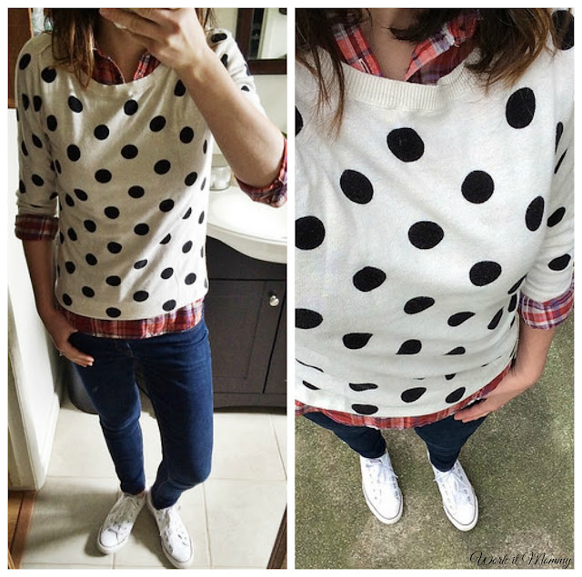 plaid and polka dots and white converse