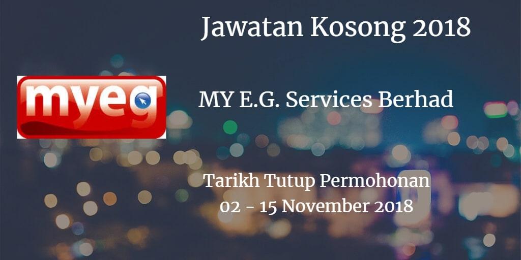 Jawatan Kosong MY E.G. Services Berhad 02 - 15 November 2018