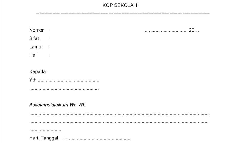 Format Surat Undangan pada Administrasi Tata Usaha Sekolah (TU)