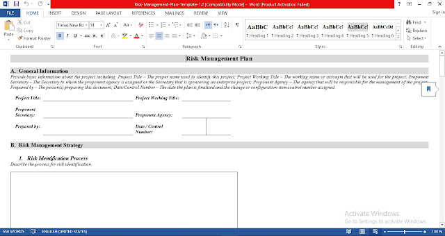 Risk Management Plan Template Document