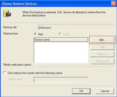 Selecionando arquivo para restaurar DB's