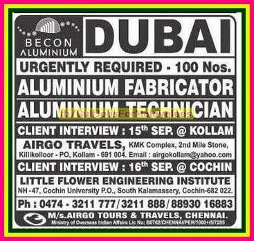 Becon Aluminum Job Vacancies for Dubai - Gulf Jobs for Malayalees