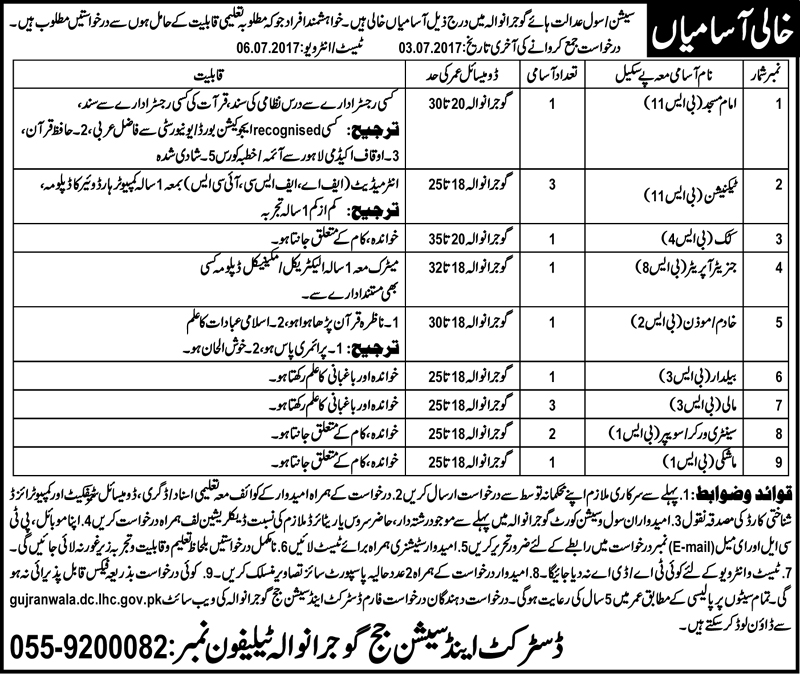 Job in District and Session Court Gujranwala 17th June 2017