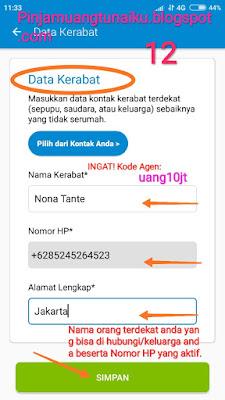 Langkah 12 pengisian Data Kerabat untuk pengajuan pinjaman di Aplikasi pinjaman Tunaiku kode agen uang10jt