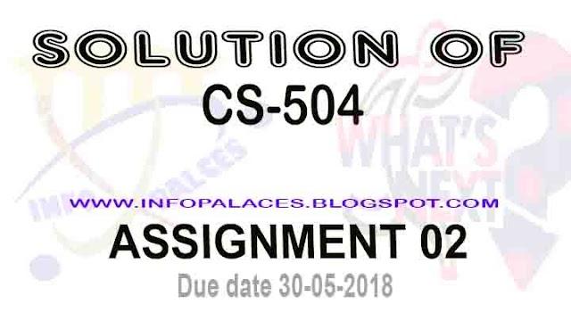 cs504 Assignment No 2 Spring 2018 Solution