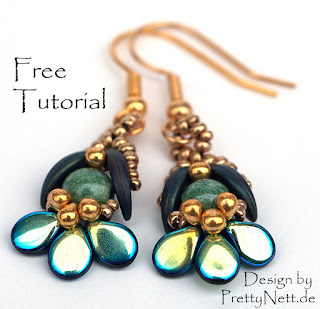 "Free Beading Pattern for earrings ""Orchid"" by PrettyNett.de"