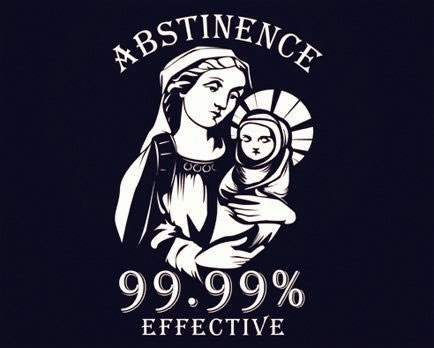 Funny Virgin Mary Abstinence 99.99% effective joke image