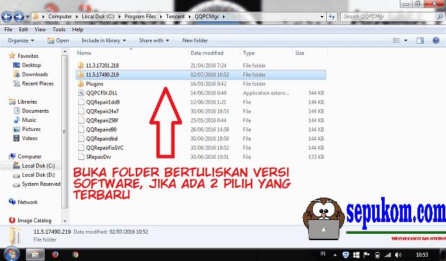 Buka Folder Bertuliskan Versi software