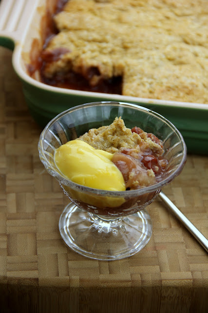 Adventures in all things food: Civil War Cherry-Apple Cobbler with Sweet Vanilla Custard