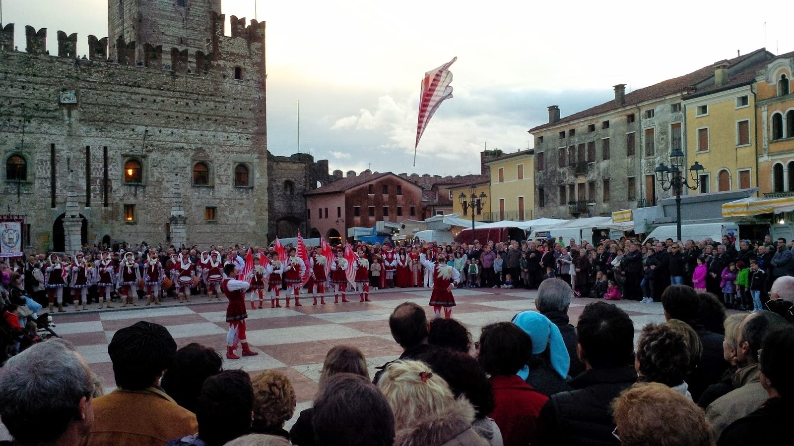 Flag dancing on the chessboard square in Marostica