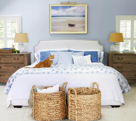 Storage Idea with Wicker Baskets for Bedroom