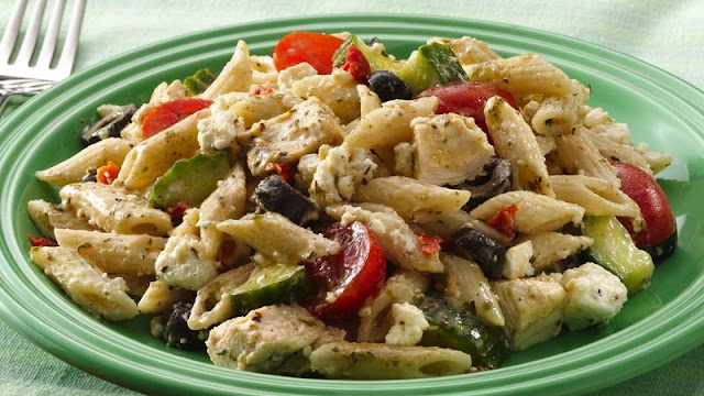 Create a taste of the Mediterranean with fewer than Mediterranean Chicken-Pasta Salad Recipe