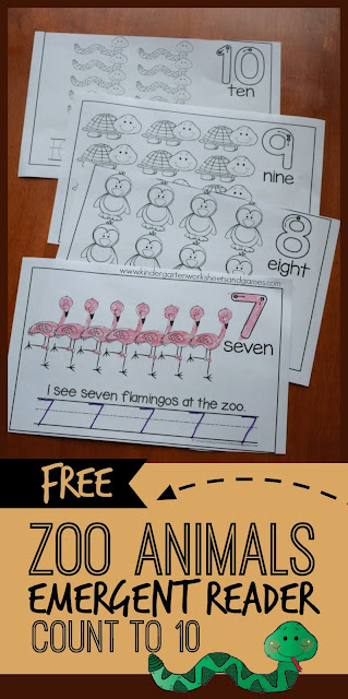 FREE Zoo Animals Count to 10 Emergent Readers - these are such a fun way for kids to practice counting, writing numbers in preschool, prek, and kindergarten with a fun theme.