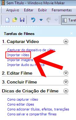 Clique para importar um vídeo para o projeto