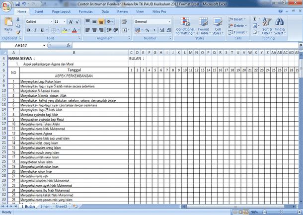 Contoh Instrumen Penilaian Harian RA TK PAUD Kurikulum 2013 Format Microsoft Excel