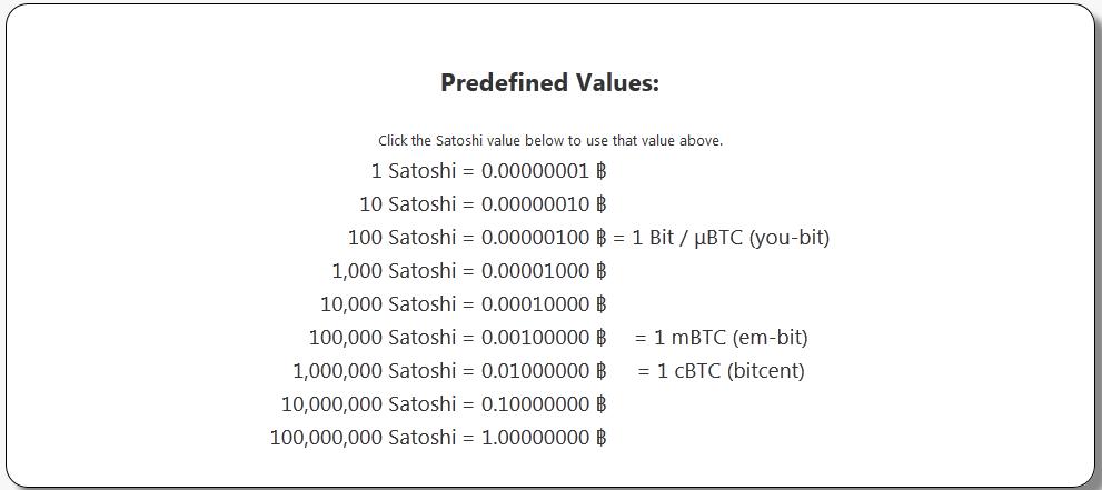 Bitcoin Satoshi => USD