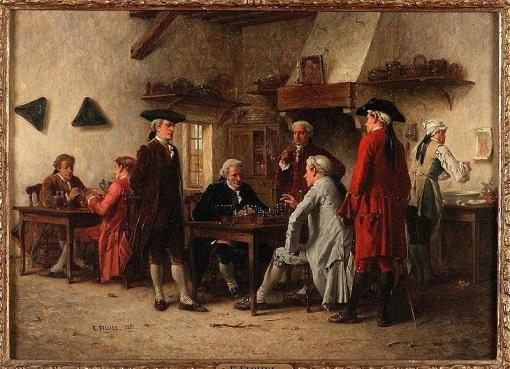 Illustration : les joueurs d'échecs 1881 de Benjamin Eugène Fichel