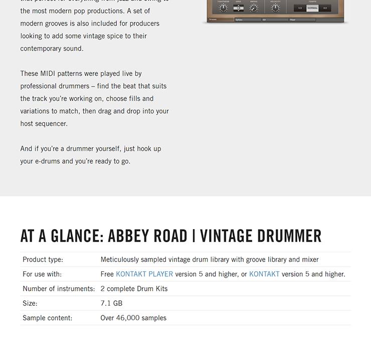 NATIVE INSTRUMENTS - Abbey Road   Vintage Drummer [KONTAKT LIBRARY