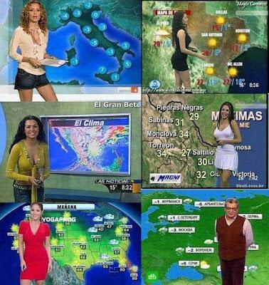 Wetterbericht Wetteransagerinen unterschiedlicher Länder Fernsehen lustig