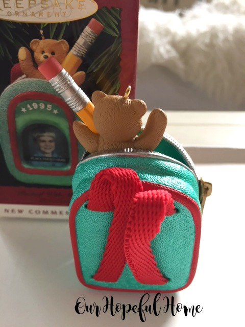 Hallmark Keepsake Packed With Memories 1995 Christmas Ornament backpack bear pencil