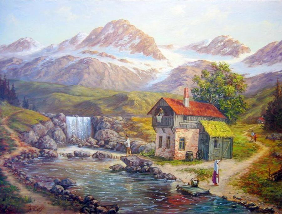 Cuadros modernos pinturas y dibujos nuevos paisajes del - Paisajes de casas ...