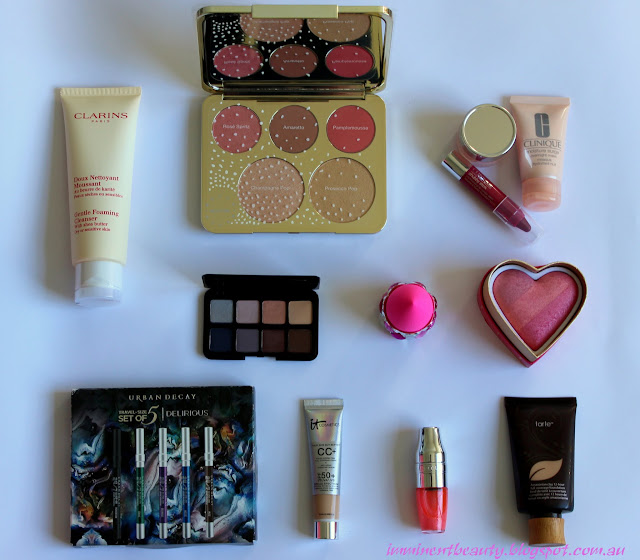 a picture of beauty products hauled from sephora and mecca maxima