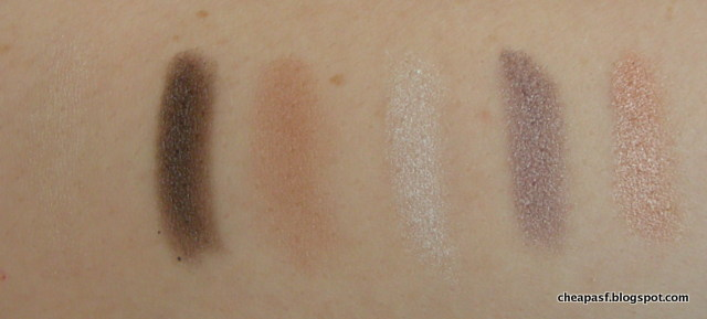 Swatches of MUA Dusk til Dawn Eyeshadow Palette: top row
