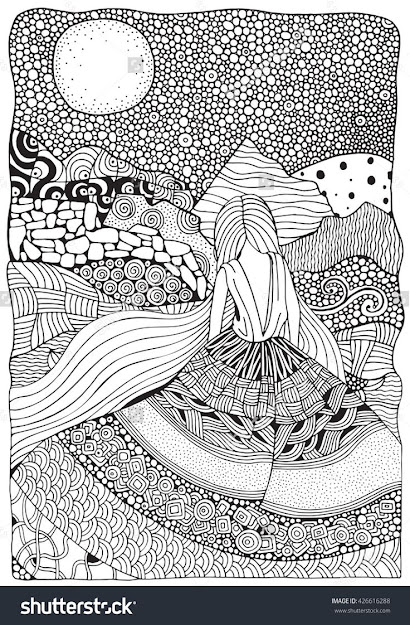 Young Girl With Long Hair Beautiful Long Dress In Zentangle Style Adult Coloring  Book Page In Size Moonlight Mountains Doodle Boho Zen Art Style