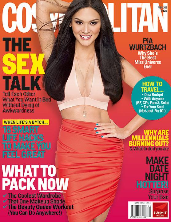 Miss Universe Pia Wurtzbach on the cover of Cosmo PH April 2016