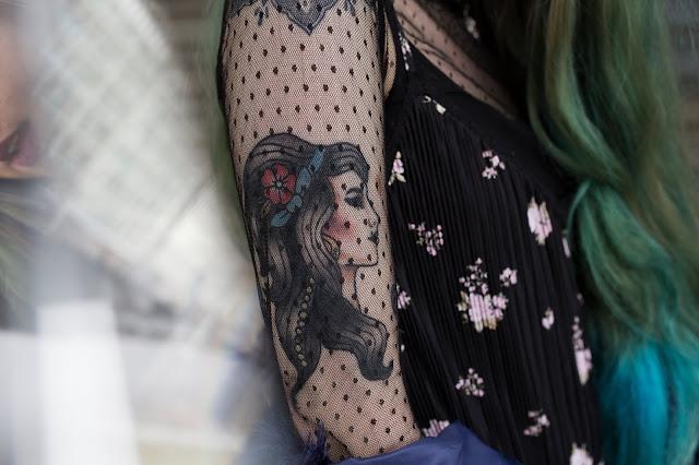 New Tattoo, Faux Fur and Glitter Tights OOTD
