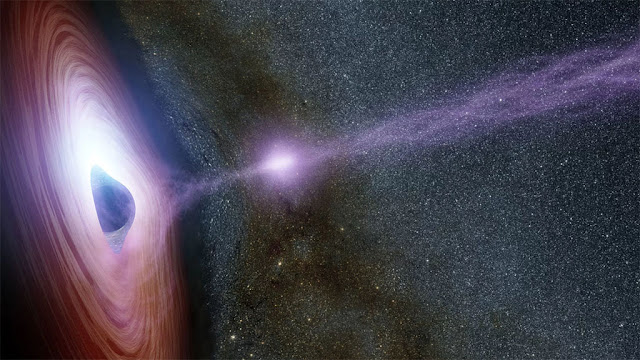 Ilustração artística mostra um buraco negro com gás circundante, criando uma ejeção de raios-X