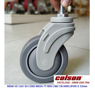 Bánh xe cọc vít càng nhựa phi 100 - 4 inch Colson Mỹ | STO-4854-448 www.banhxedayhang.net
