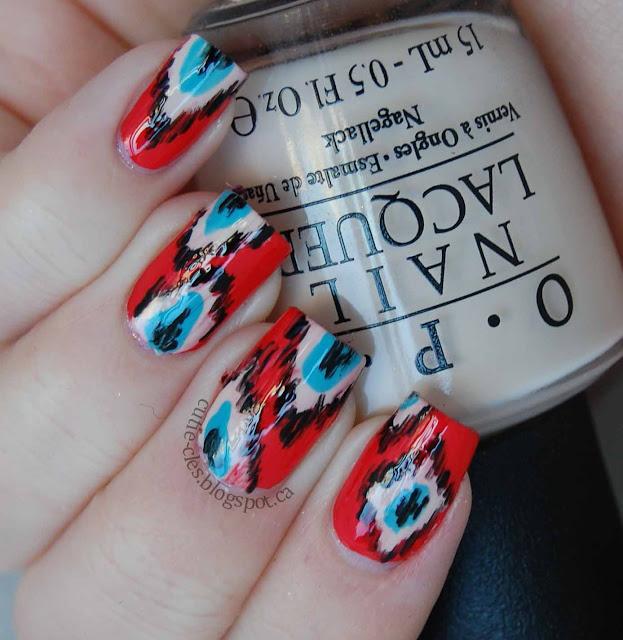 Euro Nail: Paleberry: Ikat Nail Art Ft. OPI Euro Centrale