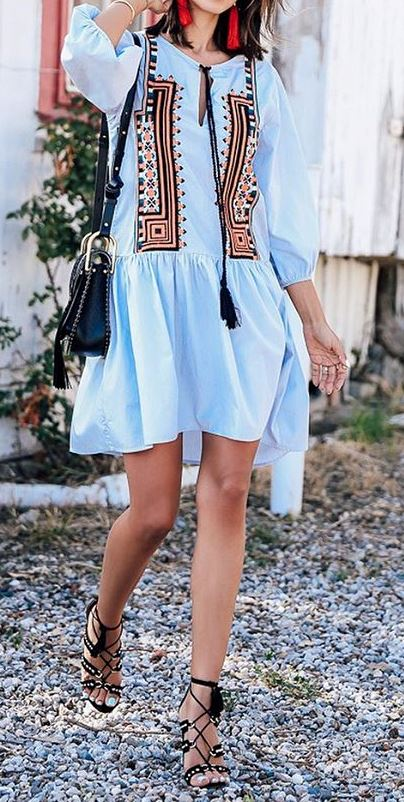 cute gypsy outfit: dress + bag