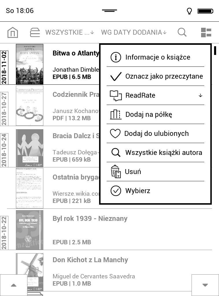 Menu kontekstowe pojawiające się po wybraniu e-booka z biblioteki na czytniku PocketBook Touch Lux 4