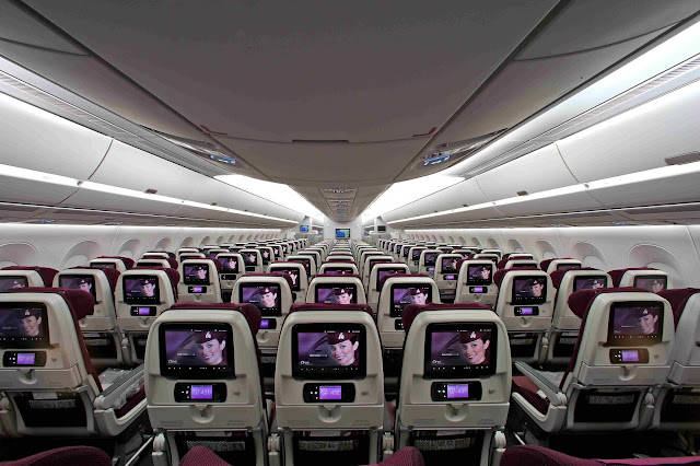 Qatar Airways A350-900 XWB Economy Class Rear View