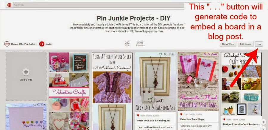 how to add Pinterest board to blog post