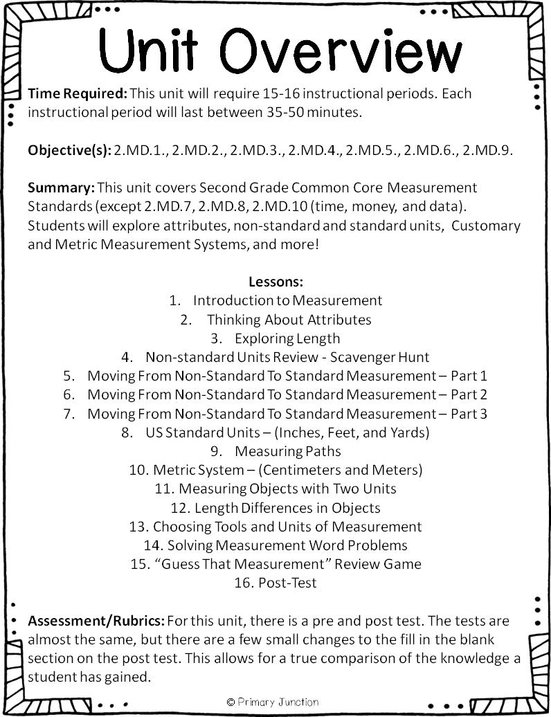 Primary Junction: Second Grade Common Core Measurement Unit [ 1036 x 796 Pixel ]