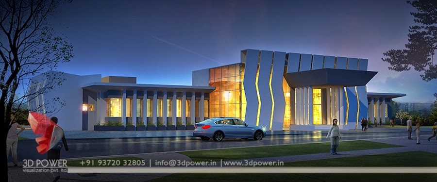 Corporate building design 3d rendering contemporary for Modern commercial building exterior design
