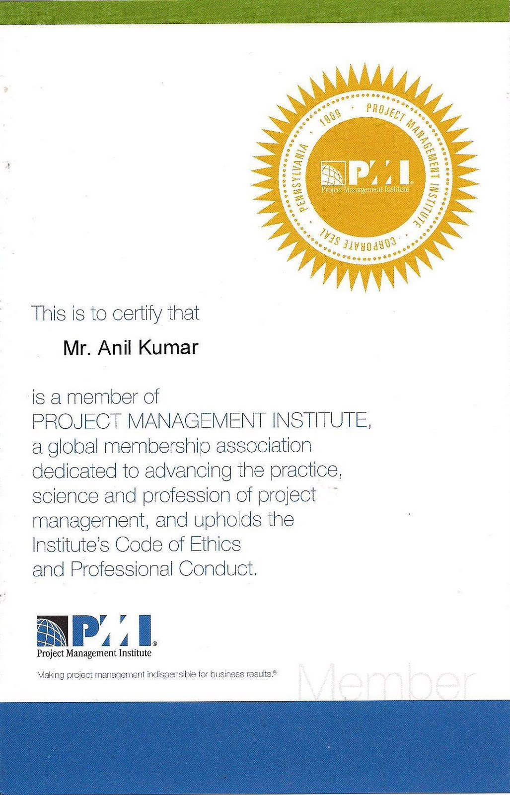 My World Pmi Project Management Institute Membership
