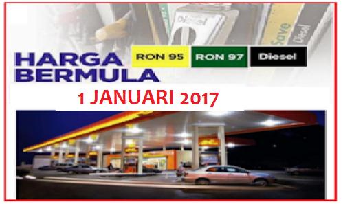 Harga Minyak Petrol Dan Diesel Januari 2017