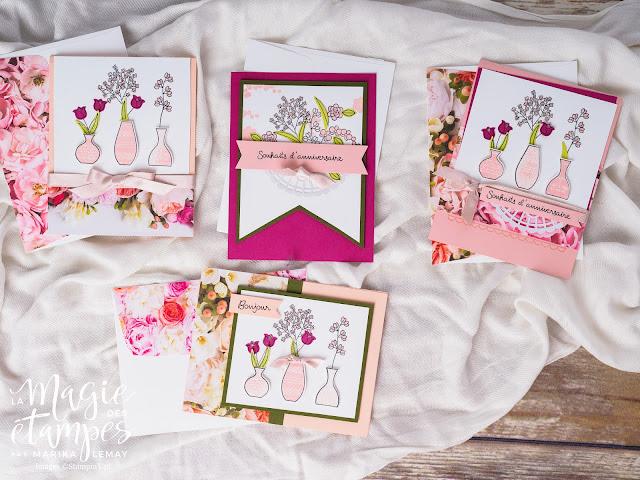Cartes confectionnées avec le jeu Vases divers de Stampin' Up!