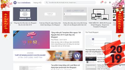 Trang trí Tết 2019 cho Blogspot bằng hình ảnh câu đối, cành mai treo hai bên