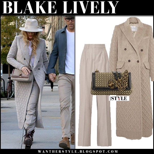 Blake Lively in beige wool coat max mara with ankle boots and wool hat street fashion october 17 2017