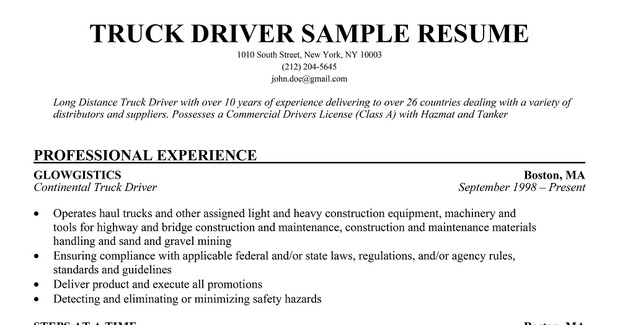 Resume Samples: Local Delivery Driver Resume