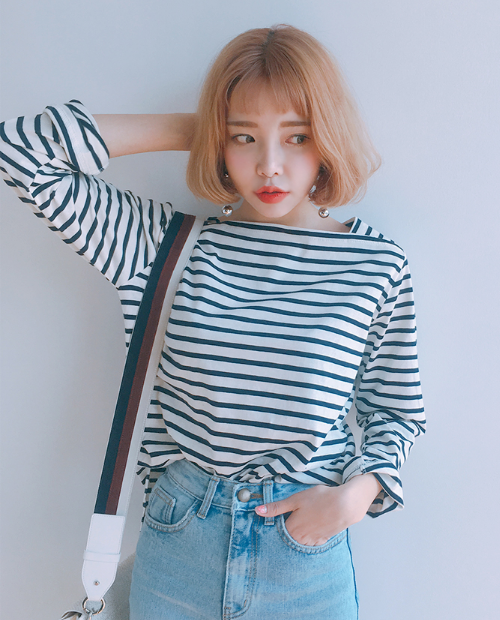 Square Neck Striped T-Shirt