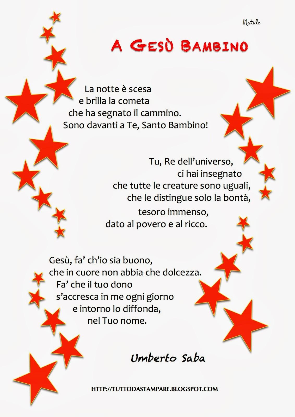 Poesie Di Natale Per Bambini Da Stampare.Poesie Di Natale A Gesu Bambino Di U Saba Tutto Da Stampare