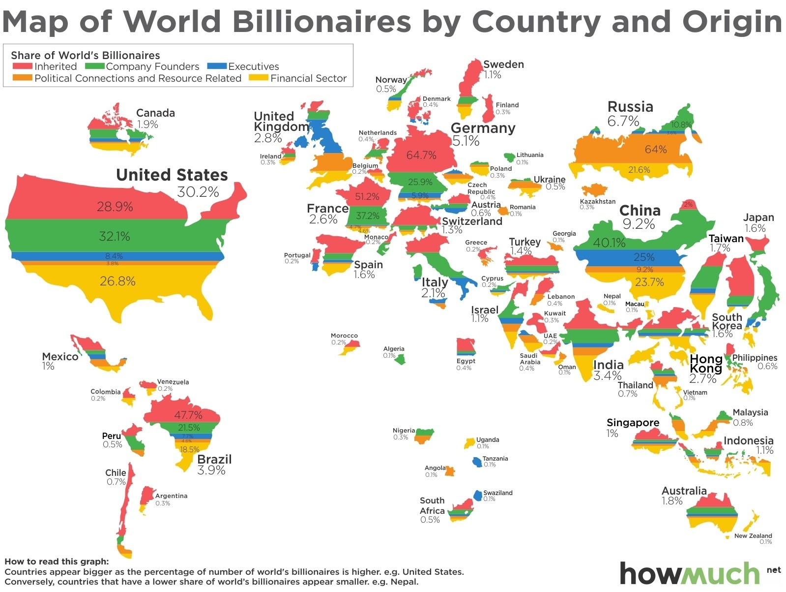 Map of world billonaires by country and origin