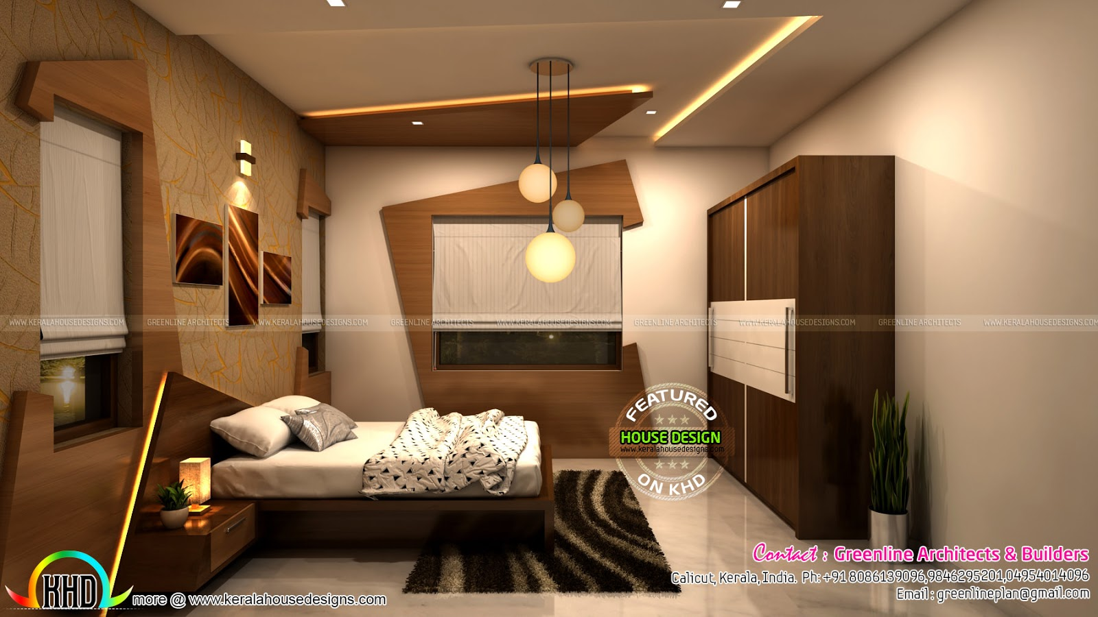 On going modern interior projects by greenline calicut for Kitchen and bedroom designs