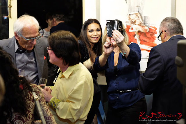 Selfie time with a Billich artwork - Dali Sculptures LAUNCH at Billich Gallery - Photography by Kent Johnson for Street Fashion Sydney